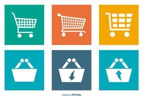 Coleção de ícones de carros de compras vetor