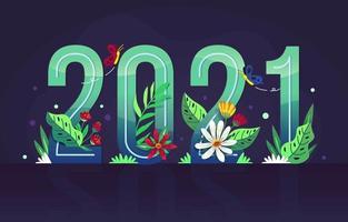 Conceito floral de ano novo de 2021 vetor