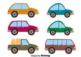 Coleção de carros no vetor branco