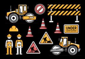 Construção de estradas com ícones de vetores rodoviários
