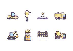 Conjunto de ícones de construção de estradas grátis vetor