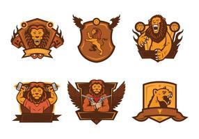 Vetor de mascote de emblema de leão