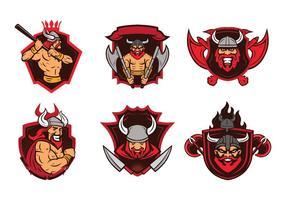 Viking badge mascot vector