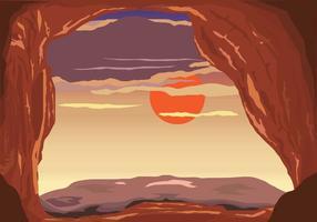 Vista do por do sol do vetor da caverna