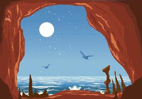 Caverna ao lado do mar vetor