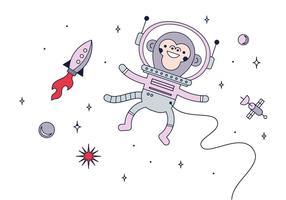 Vetor de macaco do espaço livre