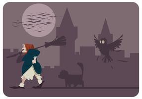 Befana com seu vetor de gato e coruja