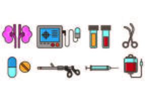 Conjunto de ícones de urologia vetor