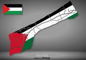 Mapa detalhado da faixa de Gaza do vetor com bandeira