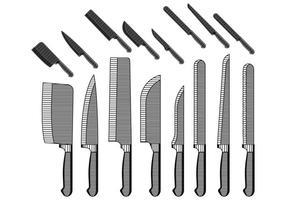 Coleção Vintage Knifes vetor
