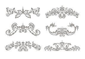 Elemento de quadro de borda desenhado mão floral vetor