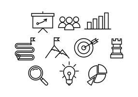 Linha de estratégia de negócios grátis vetor de ícones
