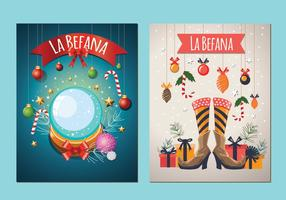 Befana Italian Christmas Tradição vetores de cartão