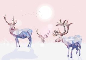 Vetor de ilustração de policarbonte baixo caribous