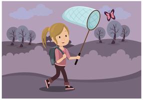 Menina com vetor de rede de borboleta