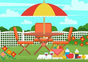 Cadeira de gramado de piquenique no jardim vetor