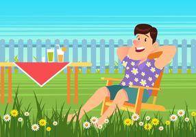 Piquenique de verão sentado na cadeira de gramado vetor