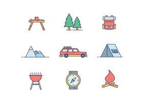 Ícones de acampamento vetor