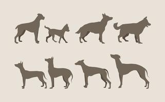 Silhuetas de cães vetor