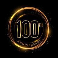 texto dourado reluzente do 100º aniversário em moldura circular vetor