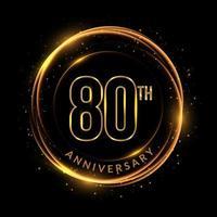 texto dourado brilhante do 80º aniversário em moldura circular