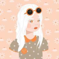 retrato de uma jovem com cabelos brancos
