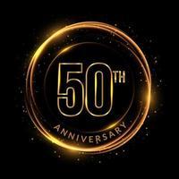 texto dourado brilhante do 50º aniversário em moldura circular