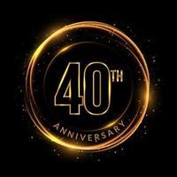 texto dourado brilhante do 40º aniversário em moldura circular