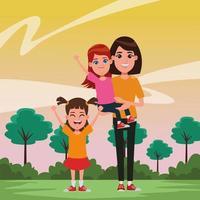 personagens de desenhos animados em família juntos vetor