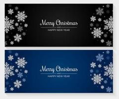banners de natal com flocos de neve azuis, brancos e cinza