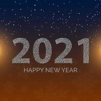Pôster de feliz ano novo de 2021 com flocos de neve