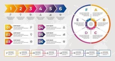 modelo de infográfico de negócios com elementos gradientes coloridos vetor