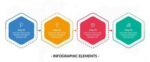 Modelo de infográfico de negócios de quatro etapas de hexágono colorido vetor