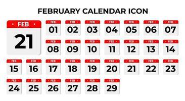 ícones do calendário de fevereiro