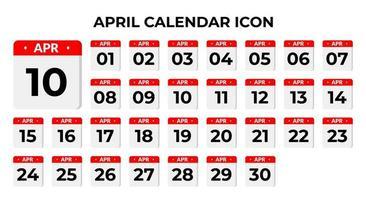 ícones do calendário de abril
