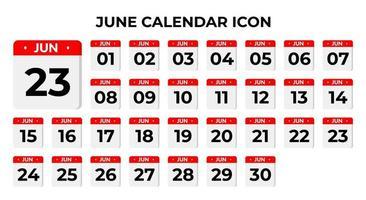 ícones de calendário de junho