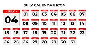 ícones de calendário de julho
