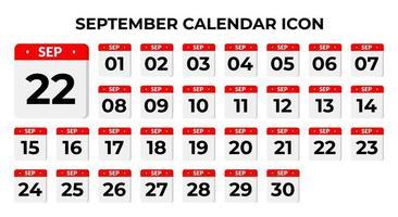 ícones do calendário de setembro