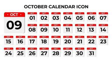 ícones do calendário de outubro