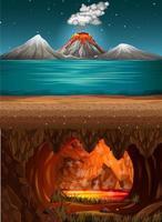 erupção do vulcão no oceano e caverna infernal com cena de lava vetor