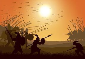 Batalha de cavalaria e infantaria vetor
