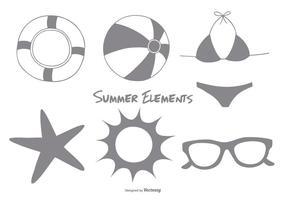 Elementos de verão esquisitos fofos vetor