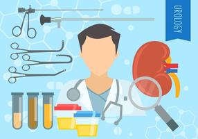 Conjunto de equipamentos de urologia vetor