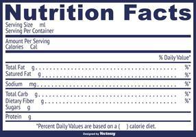 Etiqueta de fatos nutricionais vetoriais