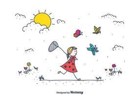 Doodle perseguindo borboletas ilustração vetorial vetor