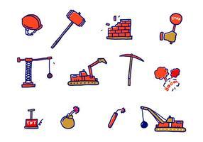 Ícones de vetor de demolição
