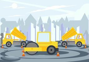 Vetor do projeto de construção de estradas