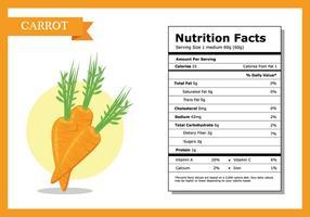 Fatos nutricionais Carrot Vector
