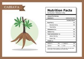 Fatos de nutrição Vector de mandioca
