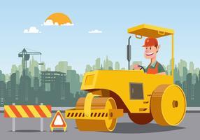 Road Roller Com Edifício No Fundo vetor